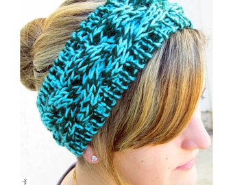 Hand Knit Headband, Braided Cable, Vegan Washable Yarn, Aqua Turquoise Hunter Green, Coconut Buttons
