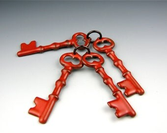 Enameled Keys / Orient Red enamel / Made to order