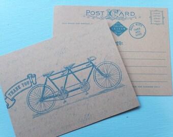 10 Thank You Tandem Bike Note - Postcard in Blue - Vintage Inspired