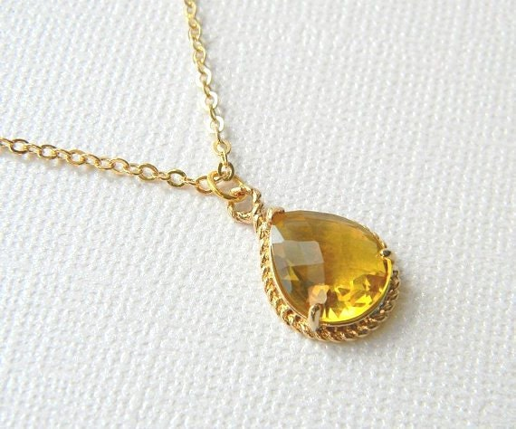 Gold Topaz Necklace - Tawny Yellow Necklace - Bridesmaid Necklace - Gold Filled Necklace - Boho Chic Necklace - Gift for Her