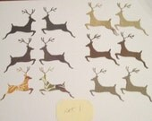 12 Die cuts Leaping Deer,  colors vary