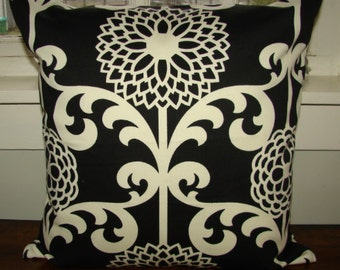 "Black Cream Waverly Cotton Canvas Cushion Pillow case 18"", US ship only"