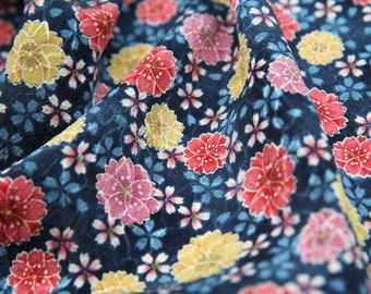 SALE-Gorgeous Colorful Traditional Cherry Blossom Floral-Japanese Kimono Crepe Cotton Fabric (1/2 Yard)