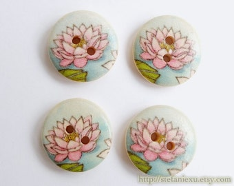 Wooden Buttons, Painted Color - Lovely Small Pink Lotus (4 in a set)