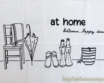SALE Clearance Home Decor Illust Linen-Home Sweet Home, Black Or Coffee Choose Color (3 Cuts, 31x55 Inches)