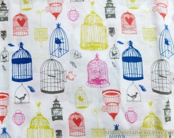 Birds Collection, Colorful Shabby Chic Bird Birdcage Collection - THIN Cotton Fabric (1/2 Yard)