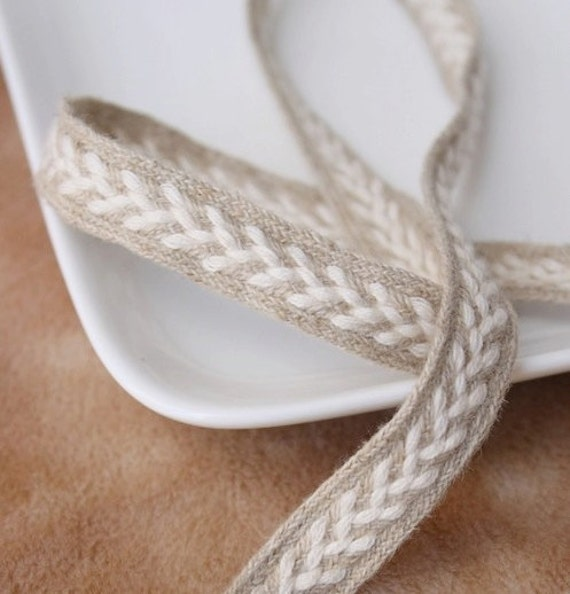 Natural Sewing Tape/Ribbon - Chic Embroidery Twist  (LAST Piece, 1.4 Yard, W1.4CM)