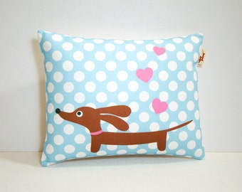 Dachshund Dog Pillow - Love a Doxie Baby Blue Dot Decorative Pillow