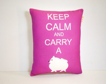 Pomeranian Dog Pillow - Keep Calm and Carry a Pomeranian in Berry Purple - Modern Home Dog Decor