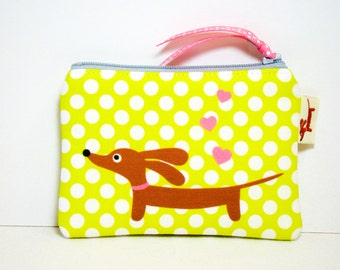 Doxie Dachshund Coin Purse - Love a Doxie Lemon Lime Polka Dot - Whimsical Dog Accessory