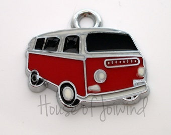 4 Pieces RETRO Red Enamel Silver tone Hippie Bus Charms