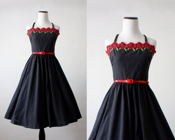 60s dress - 1960s painting the roses red party dress