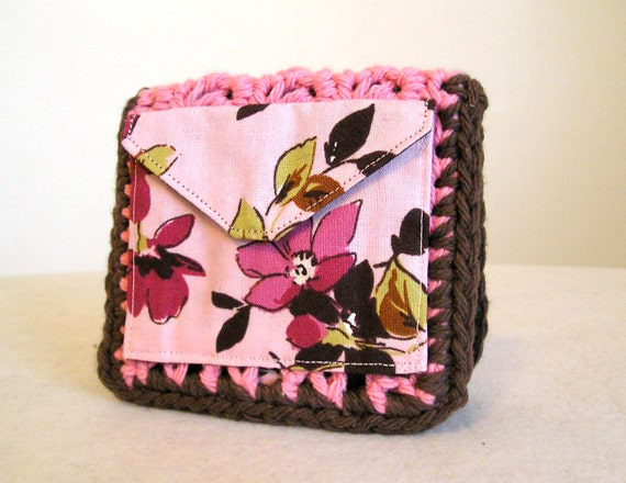 Chocolate cherry blossom pink small wallet