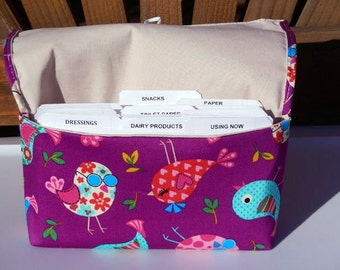 40% Off Fabric Coupon Organizer Cash Budget Organizer Holder- Attaches to your Shopping Cart - Retro Birds Twill Fabric