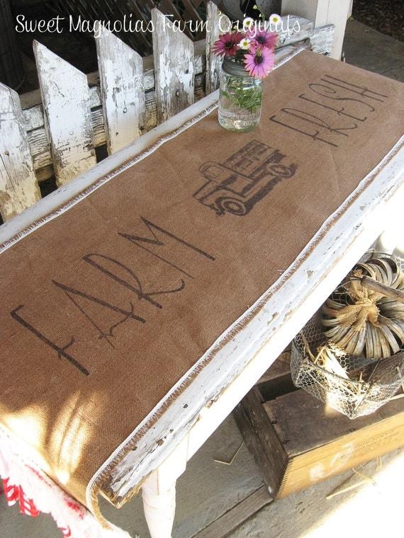 Burlap Table Runner Farm Fresh Vintage Truck