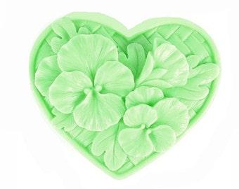 Pansy Soap -  Organic Soap - Flowers - Decorative Soap -  Heart Soap   -  Glycerin Soap  - Moisturizing Soap  -  Sweet Pea Scent