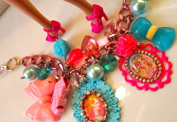 Barbie Baubles and Pearls Chunky Candy Cameo Crystal Statement Bracelet- Kitsch Kawaii