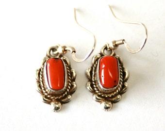 Coral //// Sterling Silver Earrings