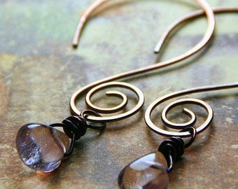 Amethyst Fluorite Teardrop Dangles on Hammered Copper Swirly Hoops