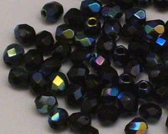 40 3mm Black AB Fire Polished Czech Glass Beads // Black Faceted Aurora Borealis Finish