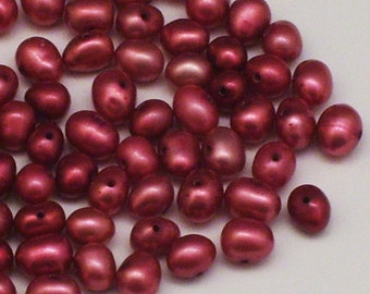 70 Black Cherry Potato Pearls // 4mm Oval Pearls // Cultured Pearls