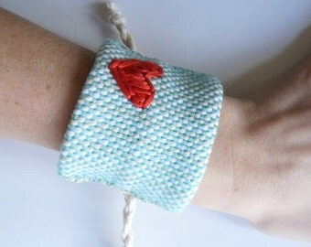 SALE!! Handwoven Aqua Cuff Bracelet with Red Heart (original price: 42.00)