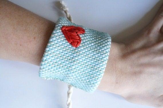SALE!! Handwoven Aqua Cuff Bracelet with Red Heart (original price: 42.00)