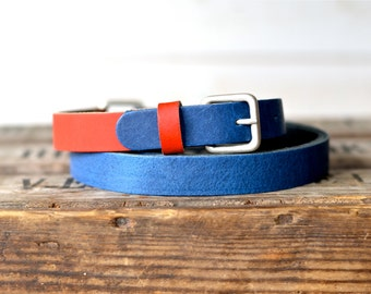 Leather Belt Navy and Red / Women leather belt / Nautical Leather Belt