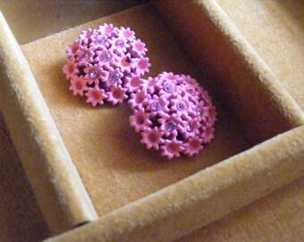 Vintage Earrings Hot Pink Rhinestone Enamel Floral Clip