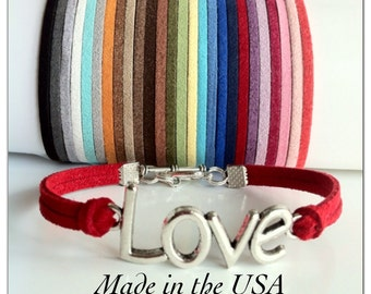 Love Bracelet, Suede Leather Love Bracelet, Friendship bracelet, Charm bracelet