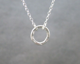 Dainty Silver Circle Necklace, Sterling Silver, Karma, Eternity Necklace, Circle of Life