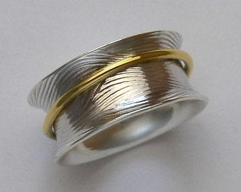 Sterling Silver Ring Spinning Ring 18K Gold Captured Band Handmade Wild Prairie Silver Jewelry