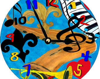 Funcky Jazz  wall clock available in 2 sizes from my original painting