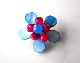 Blue flower brooch, fuchsia and blue flower jewelry, bouquet pin with wire wrapped beads, floral gemstone jewelry