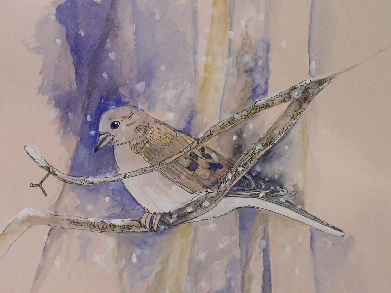 Winter Dove woodland landscape