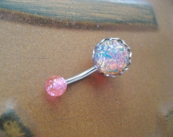 Belly Button Ring Jewelry, Pink Fire Opal Belly Button Jewelry Ring Stud- Navel Piercing Galaxy Stone Bar BarbellBelly Button Ring Jewelry