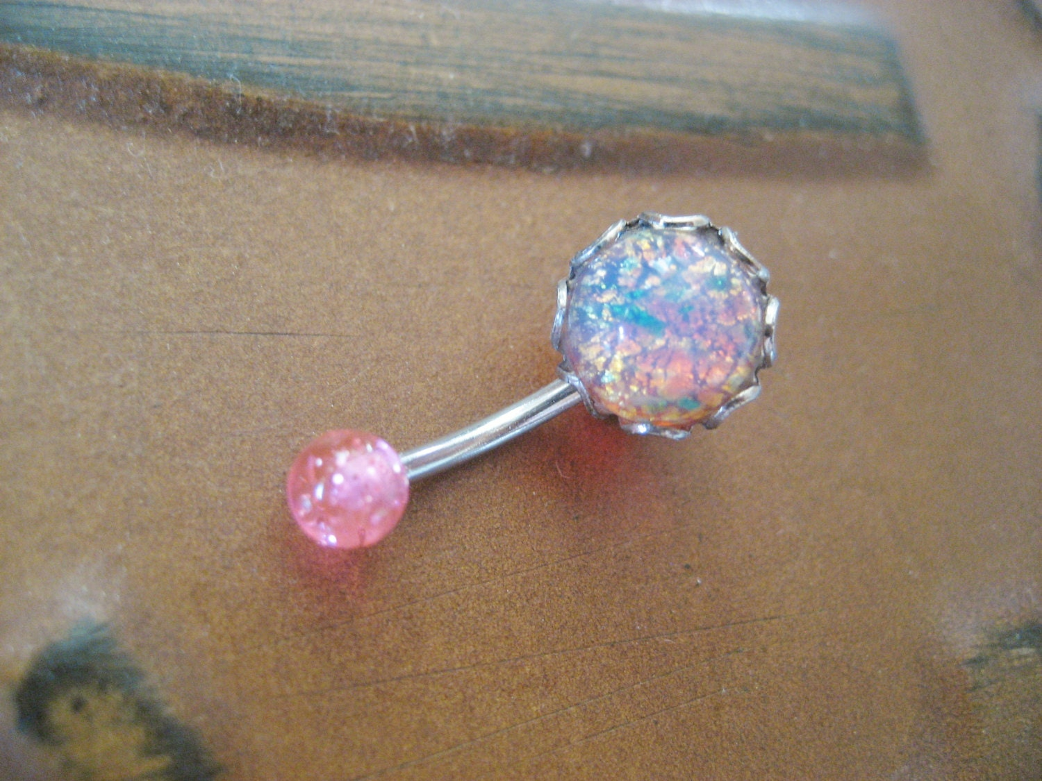 Belly Button Ring Jewelry Pink Fire Opal Belly Button Jewelry