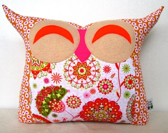 Use coupon codes /Express shipping/baby shower gift /large size/Orange nursery decor/ Smile hoot sunrise/ owl pillow/for her