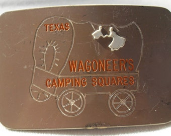 Brass Belt Buckle Vintage Large Heavy Etched Covered Wagon Texas on Wagon Makers Label on Backside