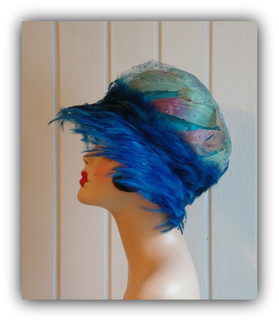 Vintage Gorgeous Christian Dior Peacock Blue Feather Hat
