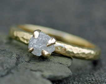 Prong-Set Rough Large Diamond Engagement Ring in Recycled 18k  Gold- Size C Diamonds