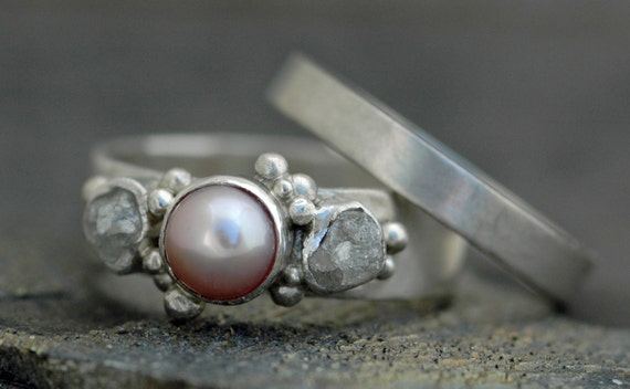 Rough Diamond and Pearl Engagement Band and Wedding Stacking  Ring Set- Custom Made Custom Colour