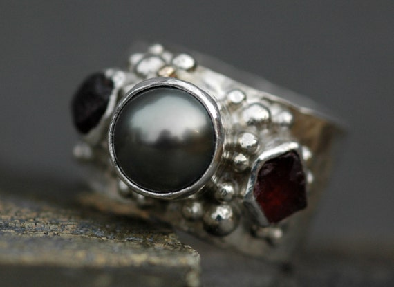 Tahitian Pearl and Raw Gemstones  in Hammered Sterling Silver Ring- Custom Made