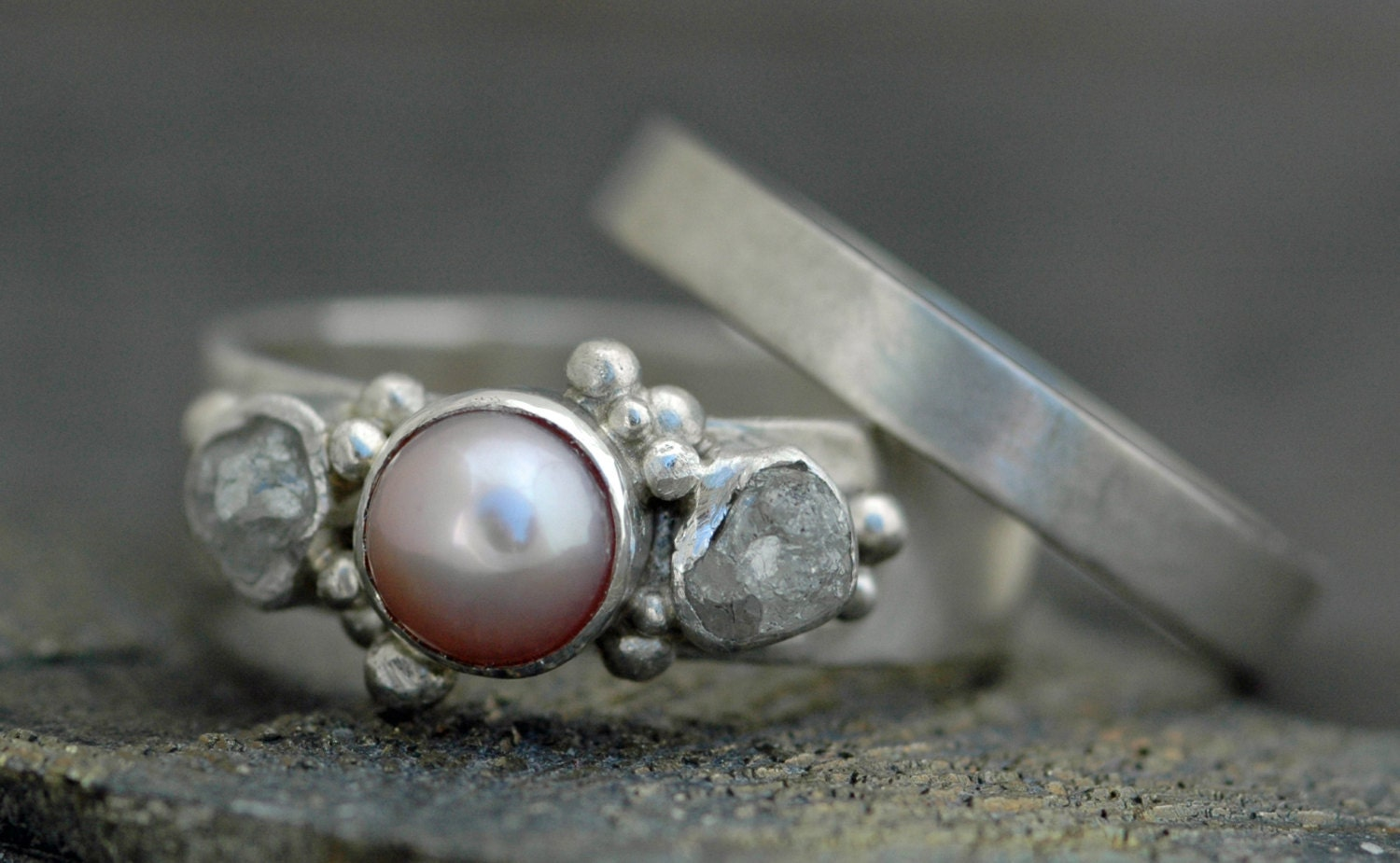 Rough Diamond and Pearl Engagement Band and Wedding Stacking Ring Set Custom