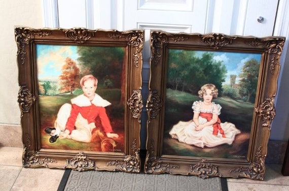 Set Of 2 Vw Peters Paintings The Red Boy Amp The By