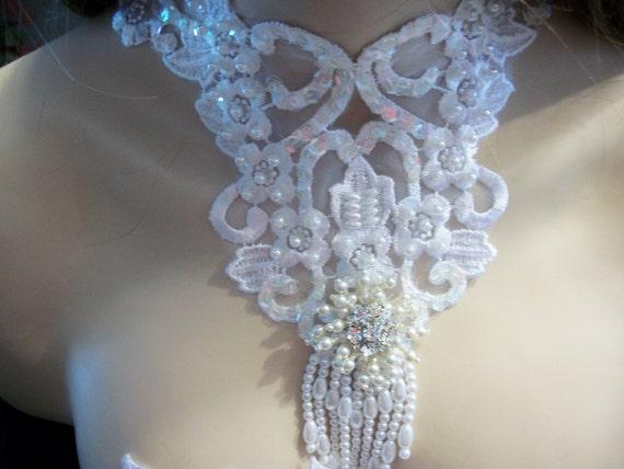 Bib necklace wedding lace