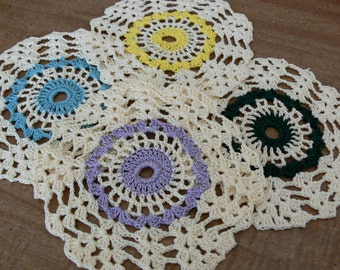Crocheted Drink  Coasters or Scatter Doilies Party, Bridal Shower, Gift, tea party, shower, birthday party