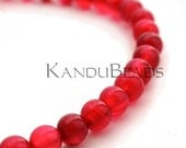 "Bright Red Agate, Round Beads 6mm 15"" (60 beads) Very Nice Quality - KanduBeads"