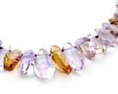"Ametrine Amethyst Citrine Faceted Top Drilled Drop Nugget Beads 15-22mm 7"" Half Strand (KBC77)"