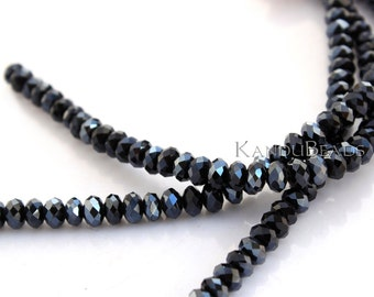 "Black AB (Aurora Borealis) Faceted crystal roundel beads 4x6 mm 15"" strand"